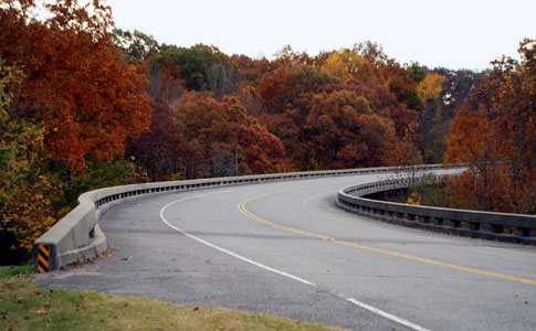 Curvy Treetop Bridge - Natchez Trace Fall Foliage