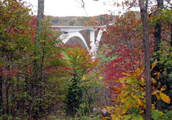 Birdsong Hollow and 96 Double Arched Bridge - Tennessee Fall Foliage