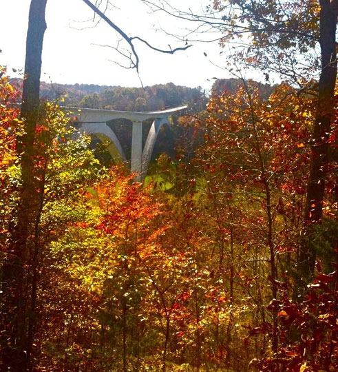 Double Arch Bridge view from Birdsong Hollow - Tennessee Fall Foliage