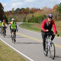 Tennessee - Group of cyclists on the last day of their south to north Natchez Trace bicycle ride.