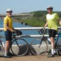 Mississippi - Two cyclists from the Oxon Hill Bike Club crossing the Tennessee-Tombigbee Waterway.
