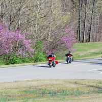 Natchez Trace Parkway: Nashville - Franklin | Group of motorcycles passing by milepost 440 parking area.