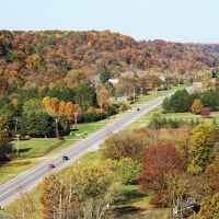 Natchez Trace Parkway: Nashville - Franklin | A mid-morning view looking west from the top of the Double Arch Bridge.