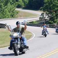 Tennessee - Motorcycles on the S curve north of Leiper's Fork
