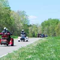 Group of bikers enjoying an April ride on the Trace.