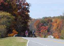 A couple of cyclists enjoying a beautiful fall afternoon.