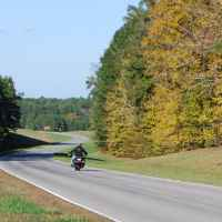 Motorcyclists enjoying a fall day around milepost 415.