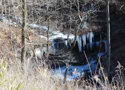 After a winter cold front the stream and waterfalls at Fall Hollow were frozen.