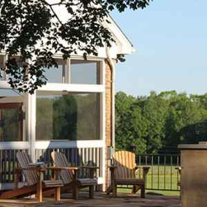 Relax on the Outdoor Patio at Farmhouse Sanctuary