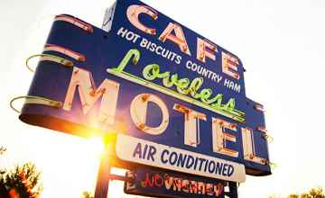 The Loveless Cafe's iconic Neon Sign welcomes out-of-town guests, locals and celebrities alike.