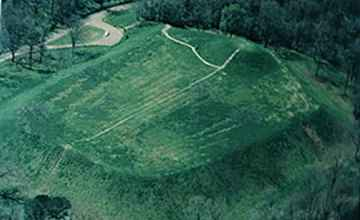 This aerial view of Emerald Mound shows the eight acre mound complex.