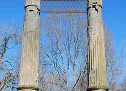 Two columns standing tall at Windsor Ruins.