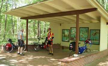Cyclists taking a break at the Myrick Creek Exhibit Shelter.
