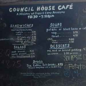 Council House Cafe Menu at French Camp Historic Village