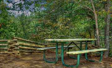 Lone picnic table at Twentymile Bottom Overlook.