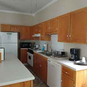 Guests have use of a fully equipped kitchen at Bear Creek Saloon Guesthouse.