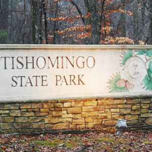 The entrance to Tishomingo State Park just off the Natchez Trace Parkway.