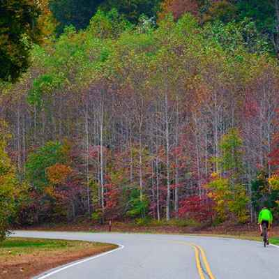 Cyclist enjoying fall foliage on the Natchez Trace at milepost 431.