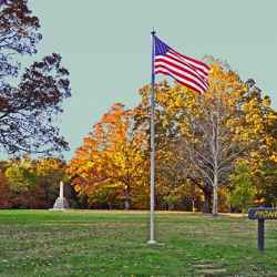 It was a beautiful day and I loved the American flag flying in the breeze. at the Meriwether Lewis Death & Burial site.