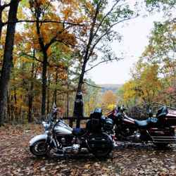Motorcyclists enjoying fall foliage on Old Trace Drive.