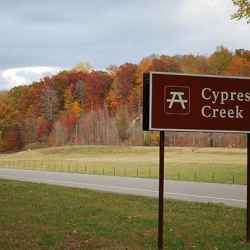 Fall foliage at Cypress Creek on the Natchez Trace Parkway.