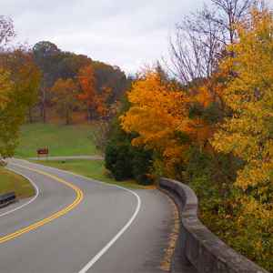 Columbia - Centerville area: Looking north on the Natchez Trace Parkway at the Jackson Falls stop.