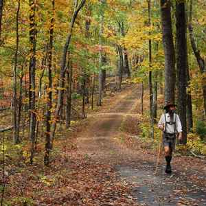 Hohenwald - Summertown area: My husband hiking in traditional Lederhosen along the Old Trace Drive.