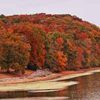 Lauderdale site bathed in fall colors on the shore of the Tennessee River.