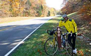 Tennessee - Cyclist taking a break at milepost 400.