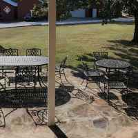 One of the beautiful patios at the Farmhouse.