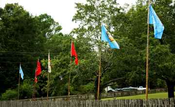 'Flag Row' at the Visitors' Center - these flags honor the various Native Nations from which the Sanctuary's Native horses originate.