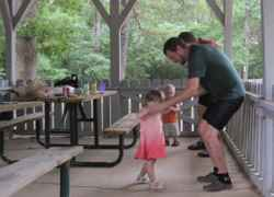 Father/Toddler Dance Party at the Ridgeland Visitor Cabin.