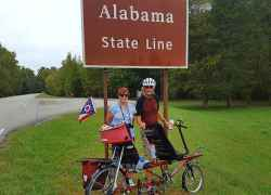 Tandem Cyclists at the Tennessee - Alabama State Line