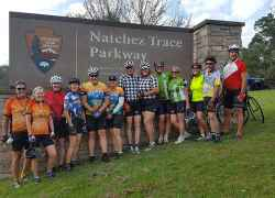 Cyclists ready to start biking the Natchez Trace Parkway.