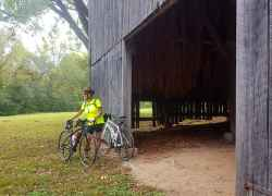 Cyclist checking out the Tobacco Farm - Natchez Trace Parkway