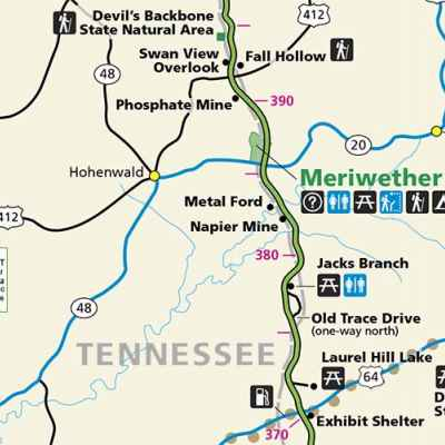 Hohenwald - Summertown, Tennessee Map - Natchez Trace Parkway